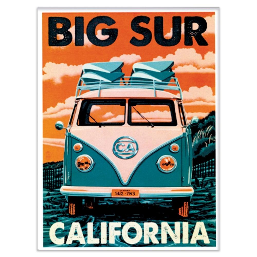Placa Decorativa Big Sur California Verde Média em Metal - 30x20 cm