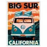 Placa Decorativa Big Sur California Verde Média em Metal