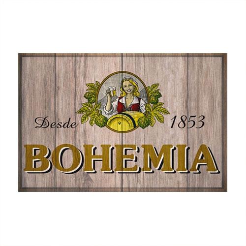 Placa Decorativa Bohemia Madeira Média em Metal - 30x20 cm