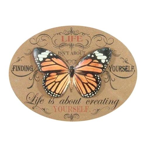 Placa Decorativa Borboleta Life Is About Creating Oval em Madeira - 61x46 cm