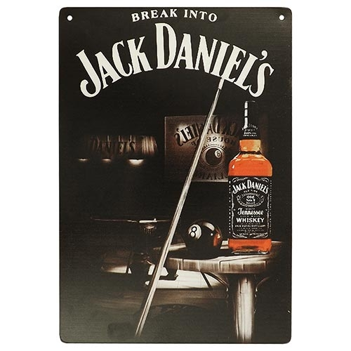 Placa Decorativa Break Into Jack Daniels Grande em Metal - 40x30cm