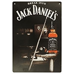 Placa Decorativa Break Into Jack Daniels Média em Metal - 30x20cm
