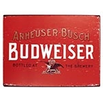 Placa Decorativa Budweiser Bottled At The Brewery Grande em Metal - 40x30cm