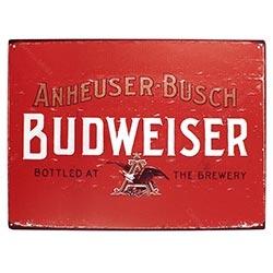 Placa Decorativa Budweiser Bottled At The Brewery Média