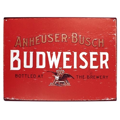 Placa Decorativa Budweiser Bottled At The Brewery Média em Metal - 30x20cm
