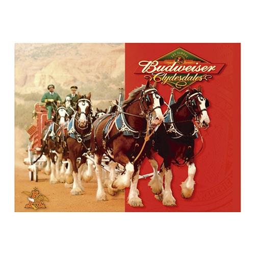 Placa Decorativa Budweiser Clydesdales Grande em Metal - 40x30cm