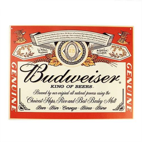 Placa Decorativa Budweiser King Of Beers Grande em Metal - 40x30cm