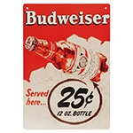 Placa Decorativa Budweiser Served Here Grande em Metal - 40x30cm