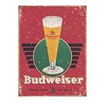 Placa Decorativa Budweiser Tulipa Grande em Metal - 40x30cm