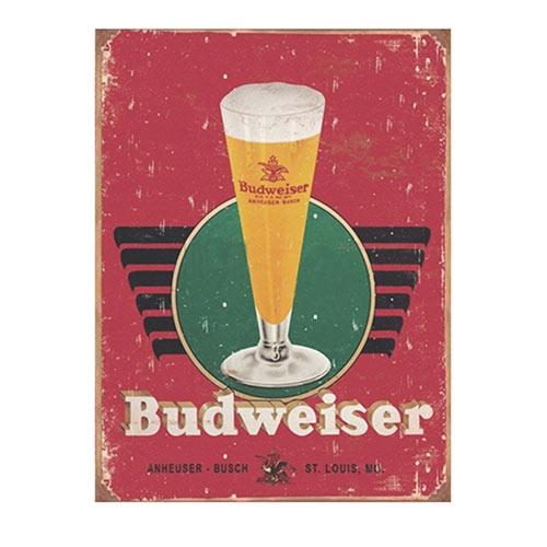Placa Decorativa Budweiser Tulipa Média em Metal - 30x20cm