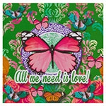 Placa Decorativa Butterfly Green em Metal - 30x30 cm