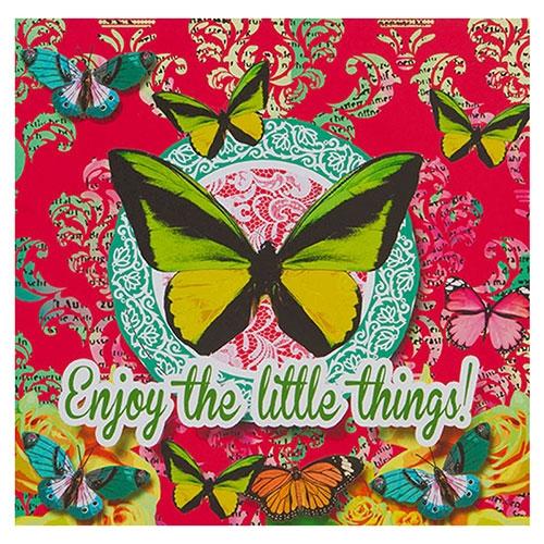 Placa Decorativa Butterfly Pink em Metal - 30x30 cm
