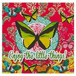 Placa Decorativa Butterfly Pink em Metal - 30x30 cm