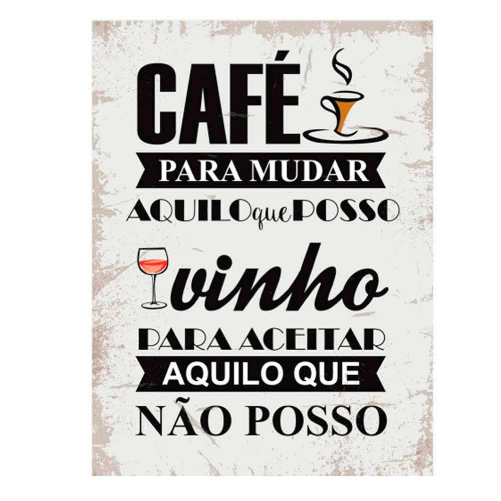 Placa Decorativa Cafe E Vinho Com Impressao Digital Em Metal
