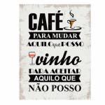 Placa Decorativa Café e Vinho com Impressão Digital em Metal