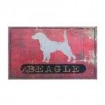 Placa Decorativa Cão Beagle em Metal - 47x31 cm