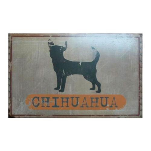 Placa Decorativa Cão Chihuahua em Metal - 47x31 cm