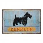 Placa Decorativa Cão Terrier em Metal - 47x31 cm