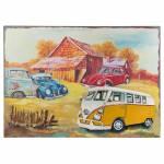 Placa Decorativa Carros e a Cabana Colorida em Ferro