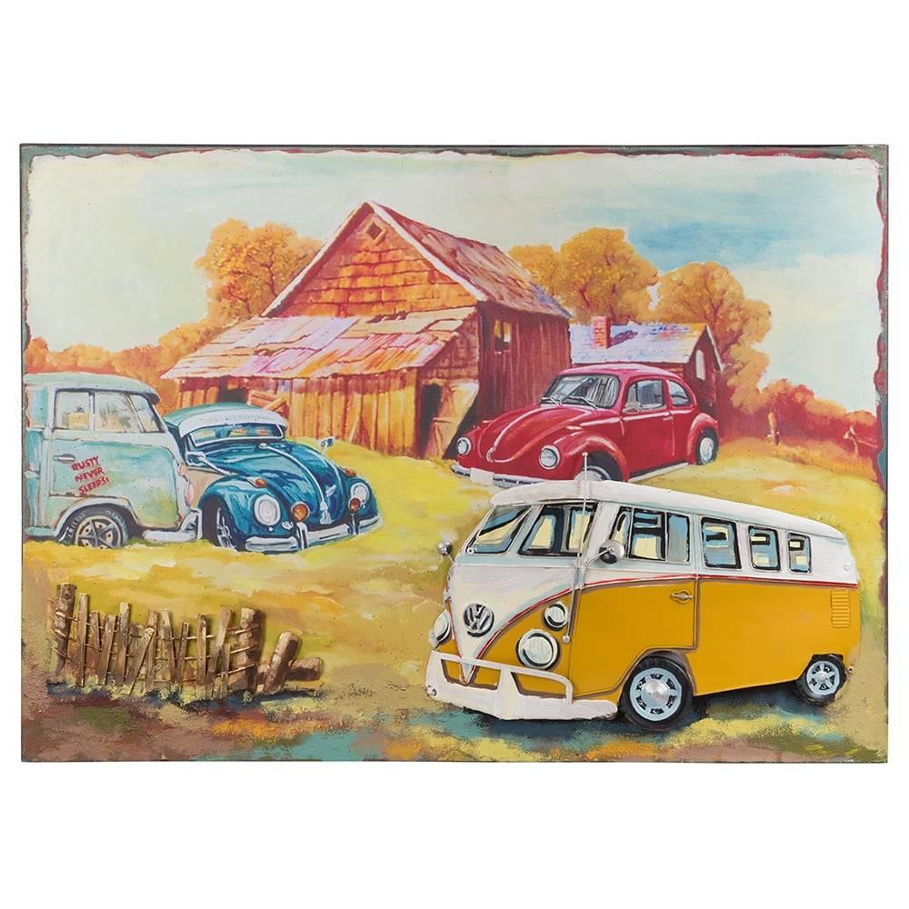 Placa Decorativa Carros e a Cabana Colorida em Ferro - 70x50 cm