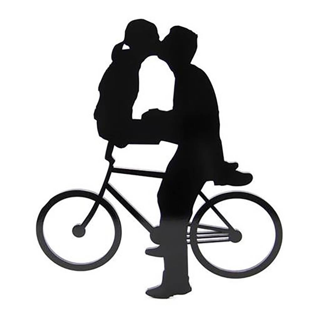 Placa Decorativa Casal de Bicicleta Pequeno Vazado Preto em MDF - 26,5x23 cm