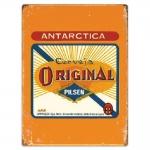 Placa Decorativa Cerveja Antarctica Vertical Amarelo Grande em Metal - 40x30 cm