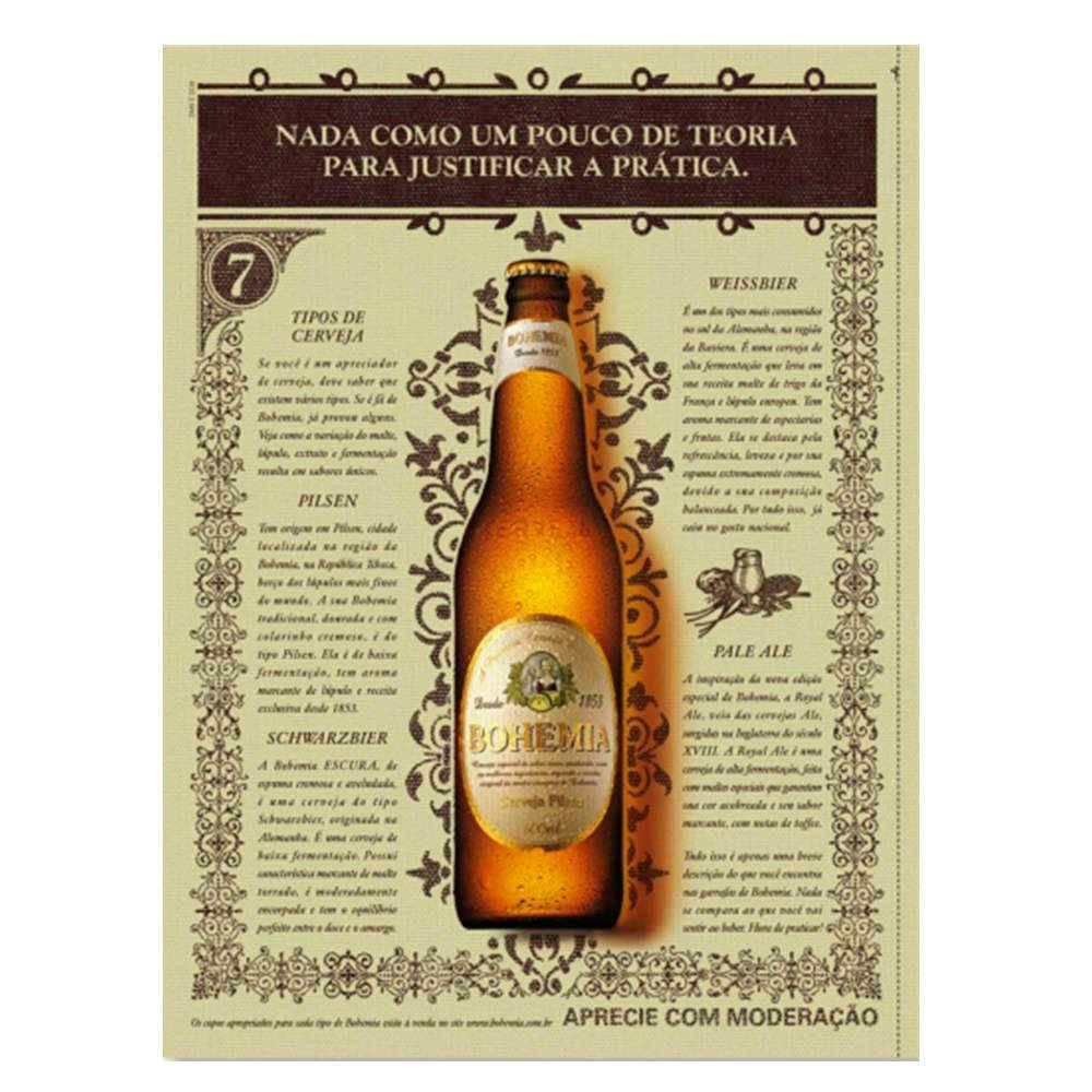 Placa Decorativa Cerveja Bohemia com Impressão Digital em Metal - 30x20 cm