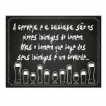 Placa Decorativa Cerveja e Cachaça com Impressão Digital em Metal - 30x20 cm