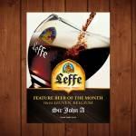 Placa Decorativa Cerveja Leffe com Impressão Digital em Metal - 40x30 cm