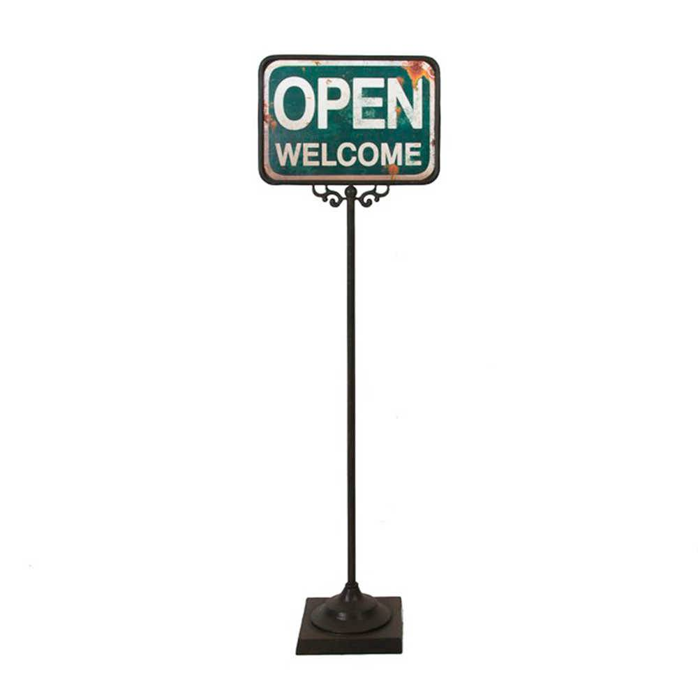 Placa Decorativa de Chão Open Welcome Verde em Metal - 112x20 cm