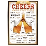 Placa Decorativa Cheers Around The World Grande em Metal - 40x30cm