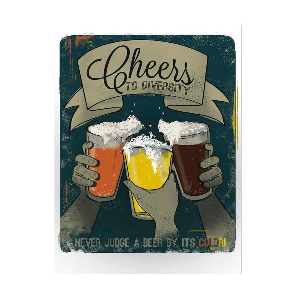Placa Decorativa Cheers Diversity com Impressão Digital em Metal - 30x20 cm