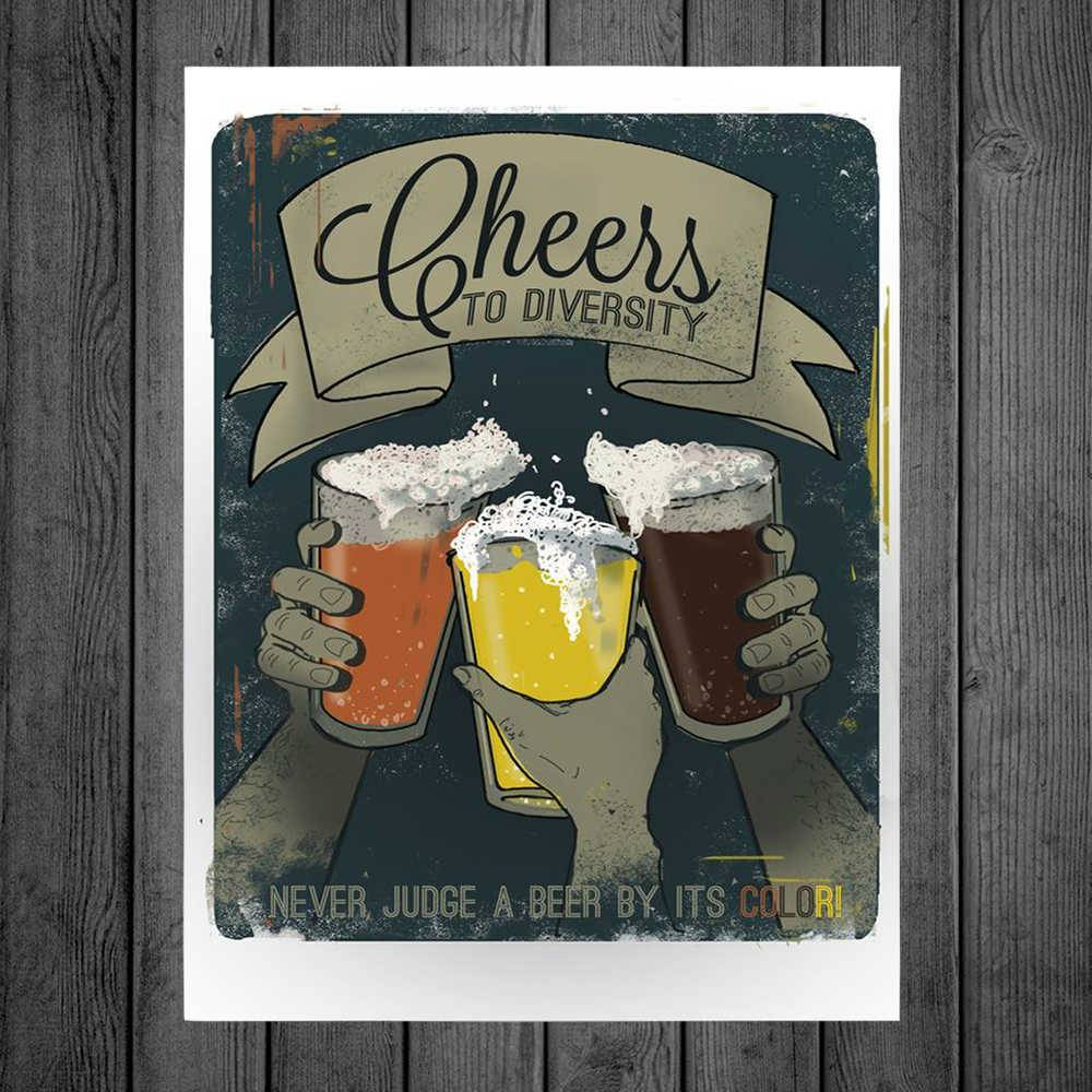 Placa Decorativa Cheers Diversity com Impressão Digital em Metal - 40x30 cm