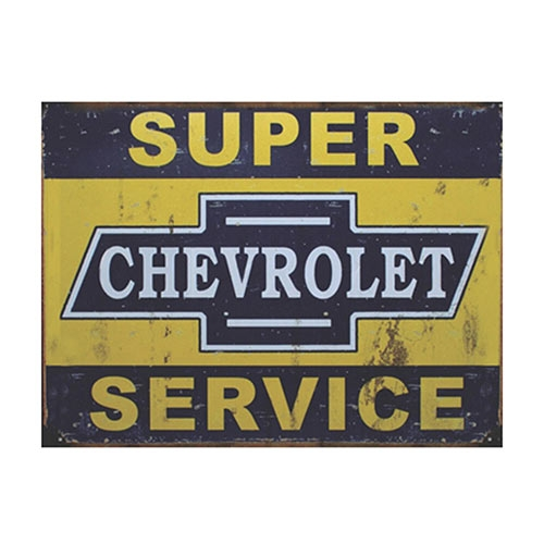 Placa Decorativa Chevrolet Super Service Grande em Metal - 40x30cm