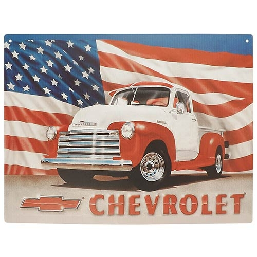 Placa Decorativa Chevrolet USA Grande em Metal - 40x30cm