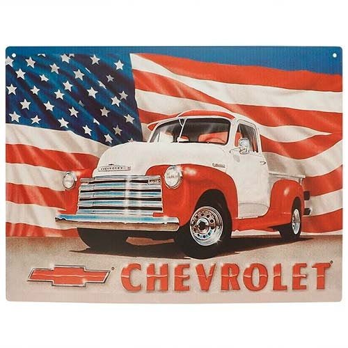 Placa Decorativa Chevrolet USA Média em Metal - 30x20cm