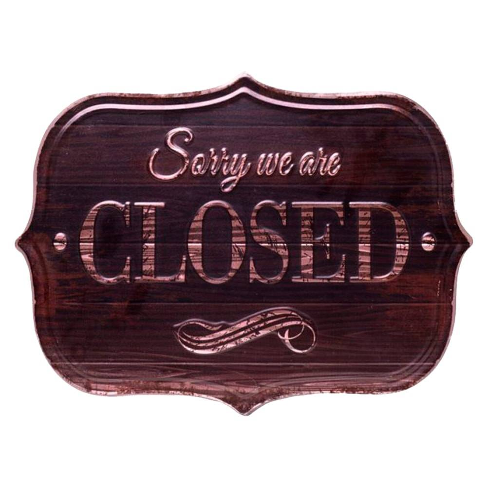 Placa Decorativa Closed Marrom em Metal - 33x25 cm