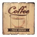 Placa Decorativa Coffee Fresh Brewed Bege em MDF - 40x40 cm