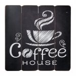 Placa Decorativa Coffee House Café Preto e Branco em MDF
