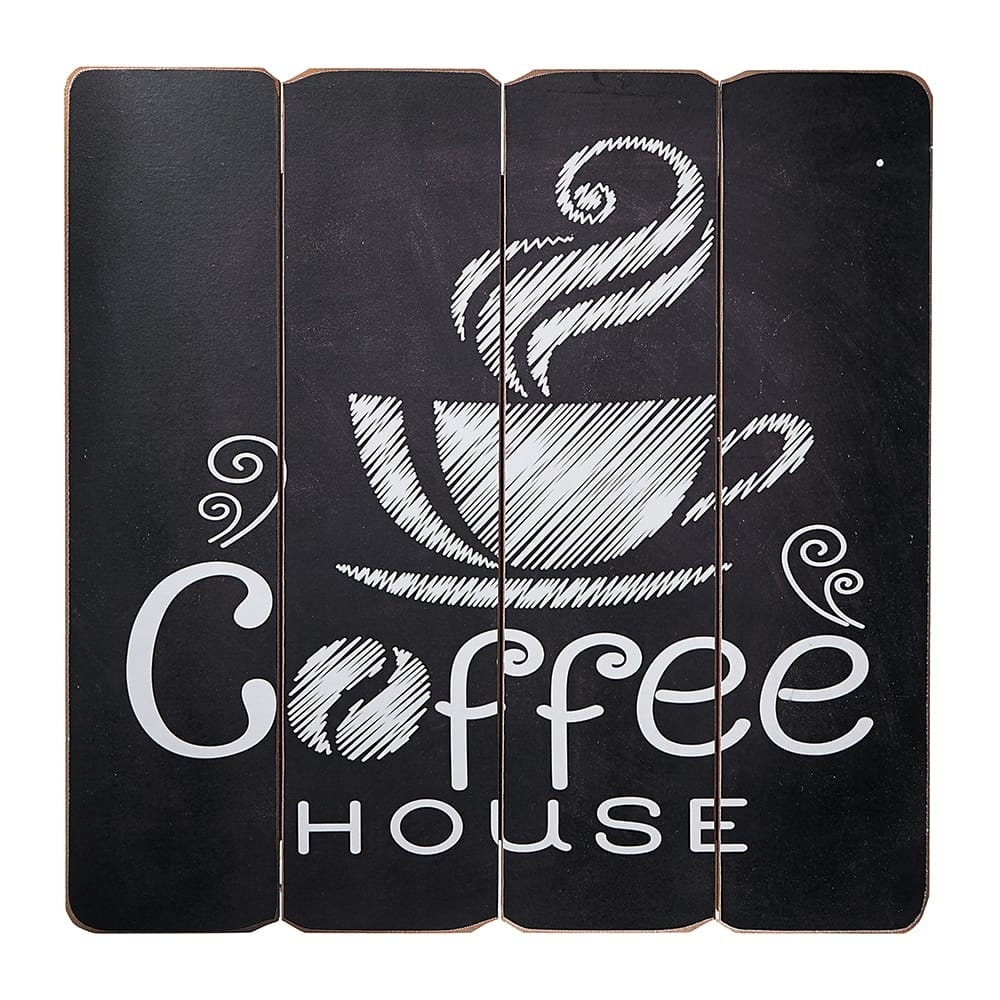Placa Decorativa Coffee House Café Preto e Branco em MDF - 40x40 cm