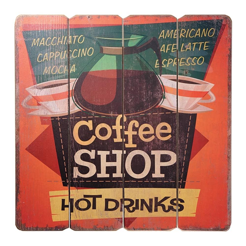 Placa Decorativa Coffee Shop Multicolorido em MDF - 40x40 cm
