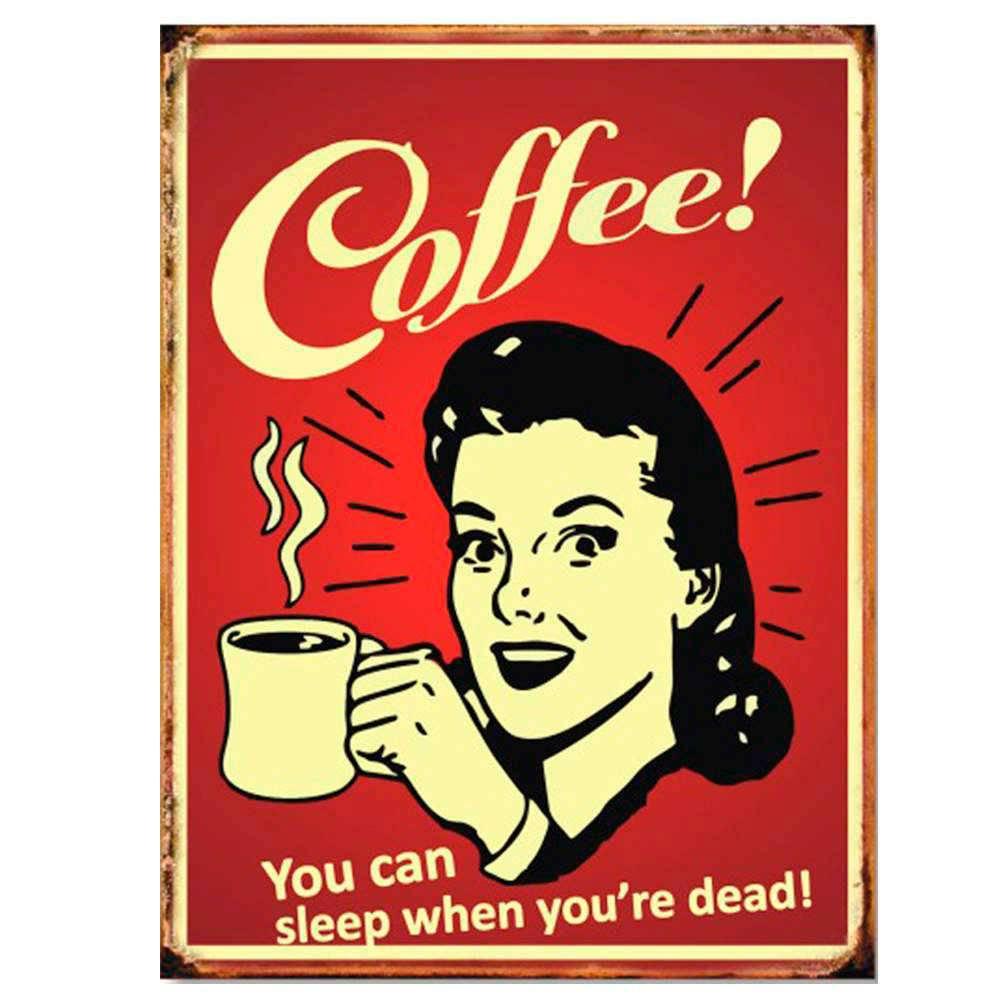 Placa Decorativa Coffee You Can com Impressão Digital em Metal - 30x20 cm