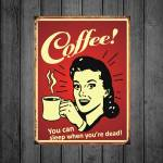 Placa Decorativa Coffee You Can com Impressão Digital em Metal - 40x30 cm