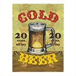 Placa Decorativa Cold Beer Média em Metal - 30x20 cm
