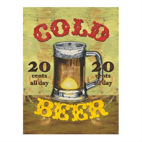 Placa Decorativa Cold Beer Média em Metal - 30x20 cm