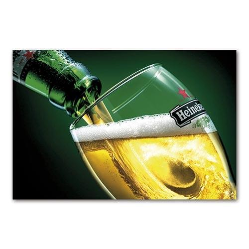 Placa Decorativa Copo de Cerveja Heineken Média em Metal - 30x20 cm