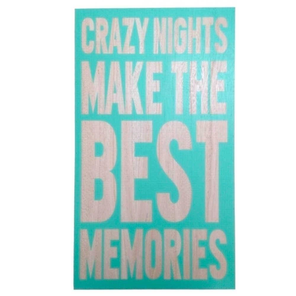 Placa Decorativa Crazy Nights Verde em Madeira - Urban - 55x30 cm