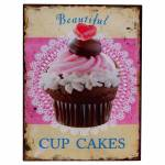 Placa Decorativa Cup Cakes Beautiful Multicolorida em Metal