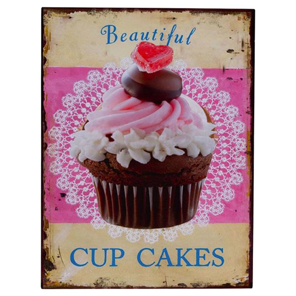 Placa Decorativa Cup Cakes Beautiful Multicolorida em Metal - 33x25 cm