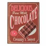 Placa Decorativa Delicious Chocolate Marrom em Metal
